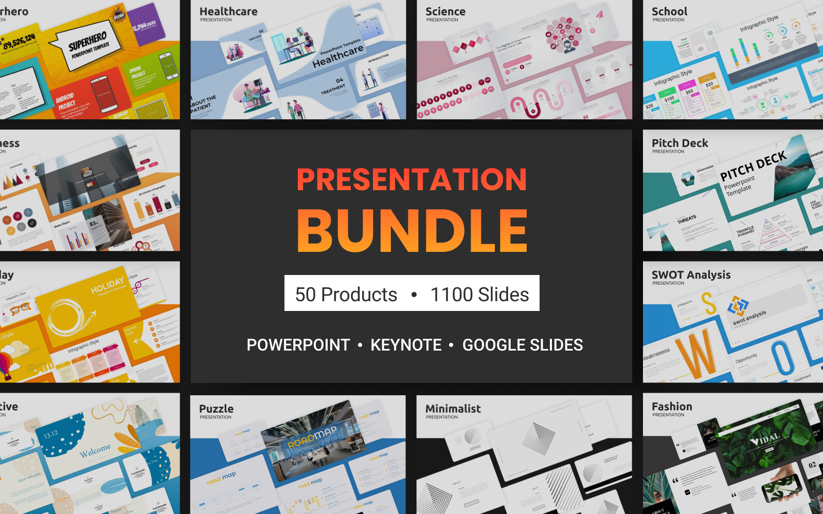 """1100 Powerpoint, Keynote, Google Slides: 50 Elegant"" PowerPoint 模板 #124522"