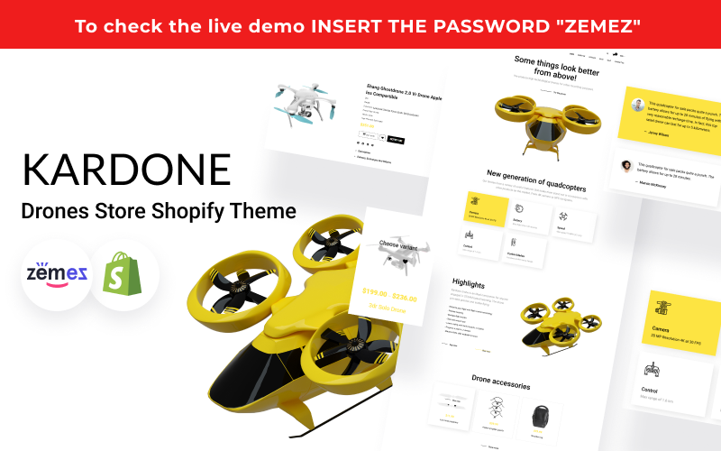 "Tema Shopify Responsive #124521 ""Kardone - Single Product Shop, Drones"""