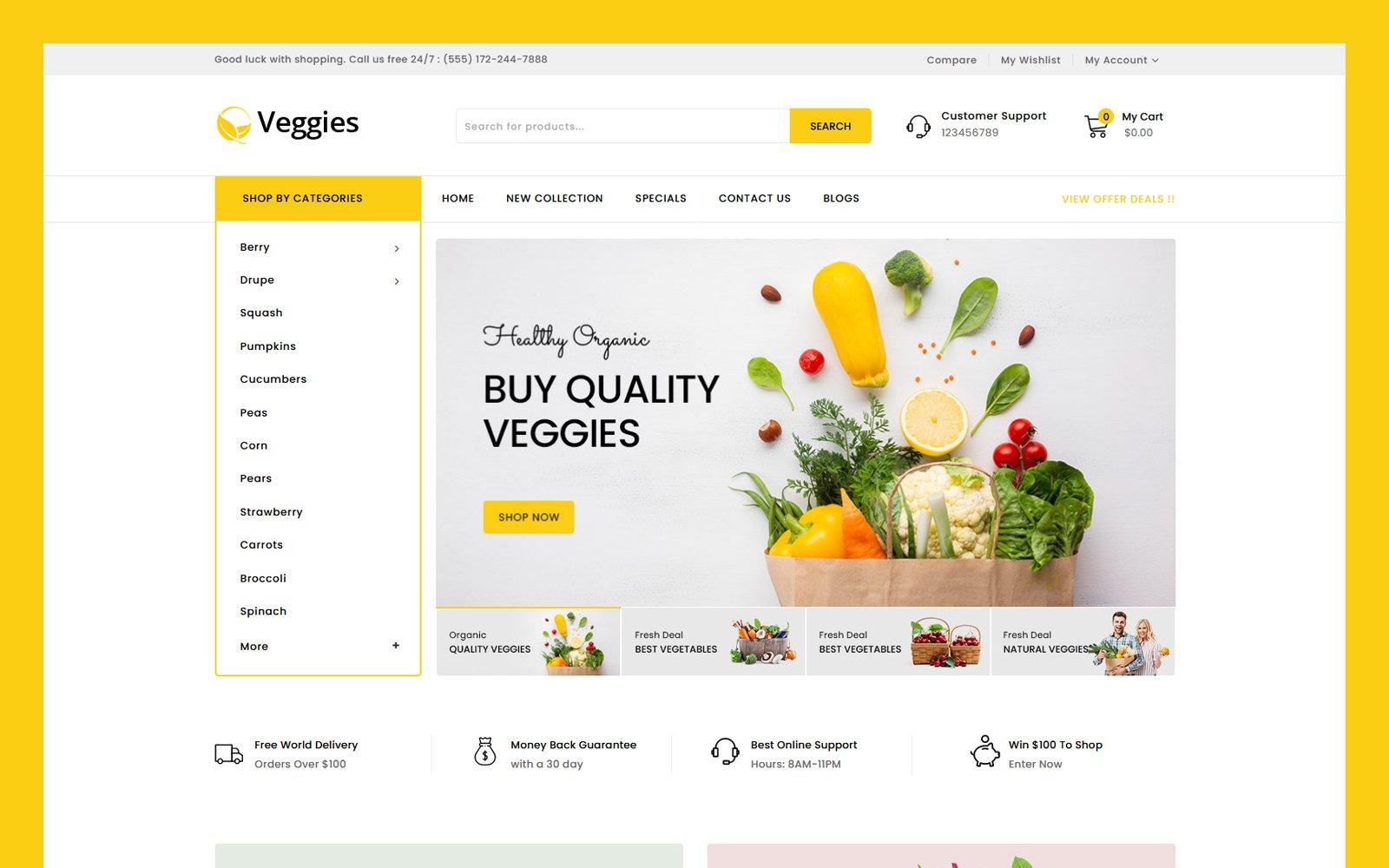 """""""Veggies - Multipurpose"""" Responsive OpenCart Template №124513"""