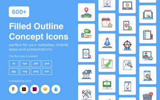 600+ Filled Outline Concept Template Iconset