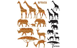 African Animal Silhouettes - Illustration