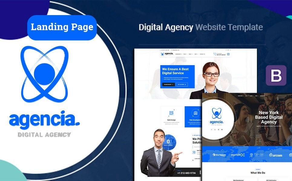 """Agencia   Digital Agency"" 响应式着陆页模板 #124754"