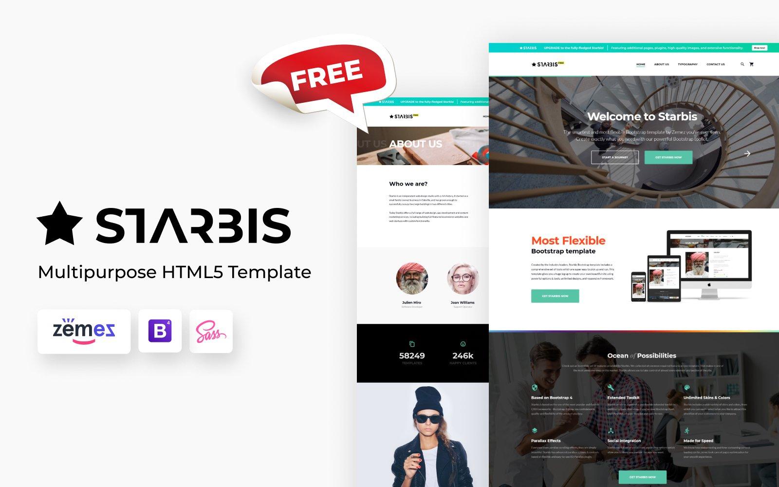 "Modello Siti Web Responsive #124757 ""Free Starbis Multipurpose HTML"""