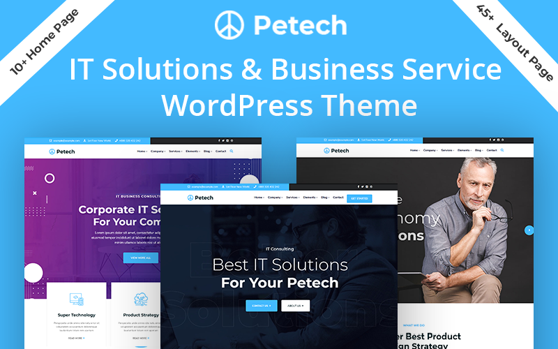 """Petech - IT Solution & Business Service"" Responsive WordPress thema №124753"