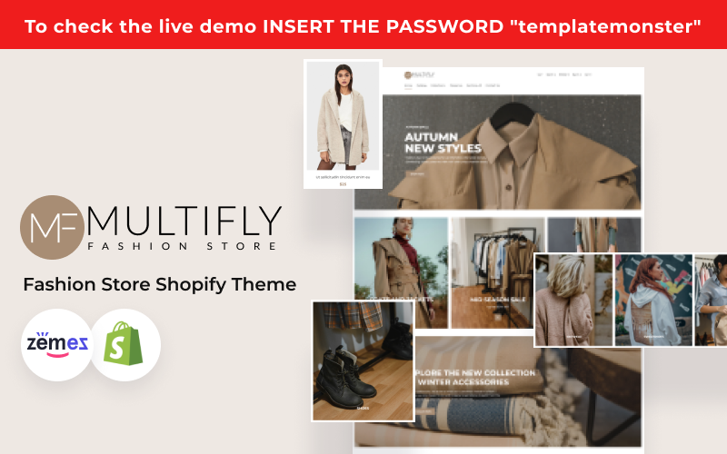 "Tema Shopify ""Multifly - Modern Fashion Store Template"" #124755"