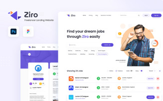 Ziro - Freelancer Directory Website Design Figma and PSD