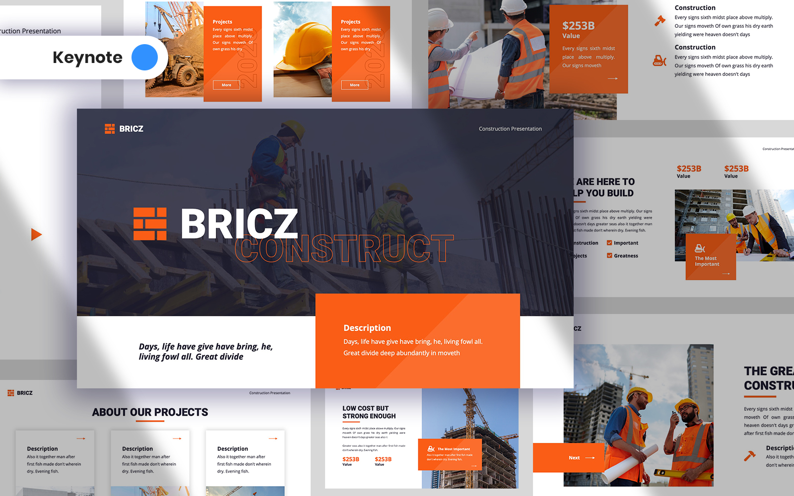 "Plantilla Keynote ""Bricz - Construction"" #125021"