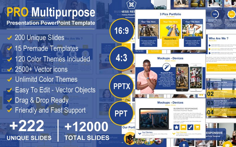 "Plantilla PowerPoint ""PRO Multipurpose - Modern Presentation"" #125022"