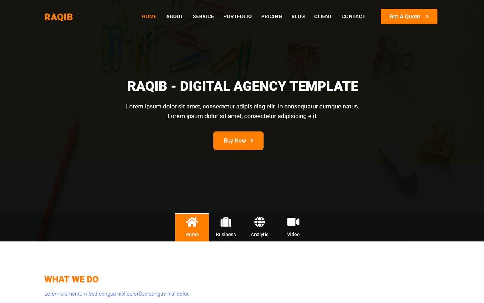 """Ar-Raqib - Creative Agency"" 响应式着陆页模板 #125228"