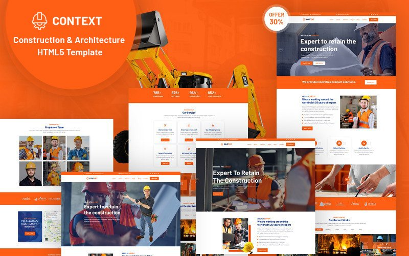 """Context - Construction and  Architecture HTML5"" Responsive Website template №125226"