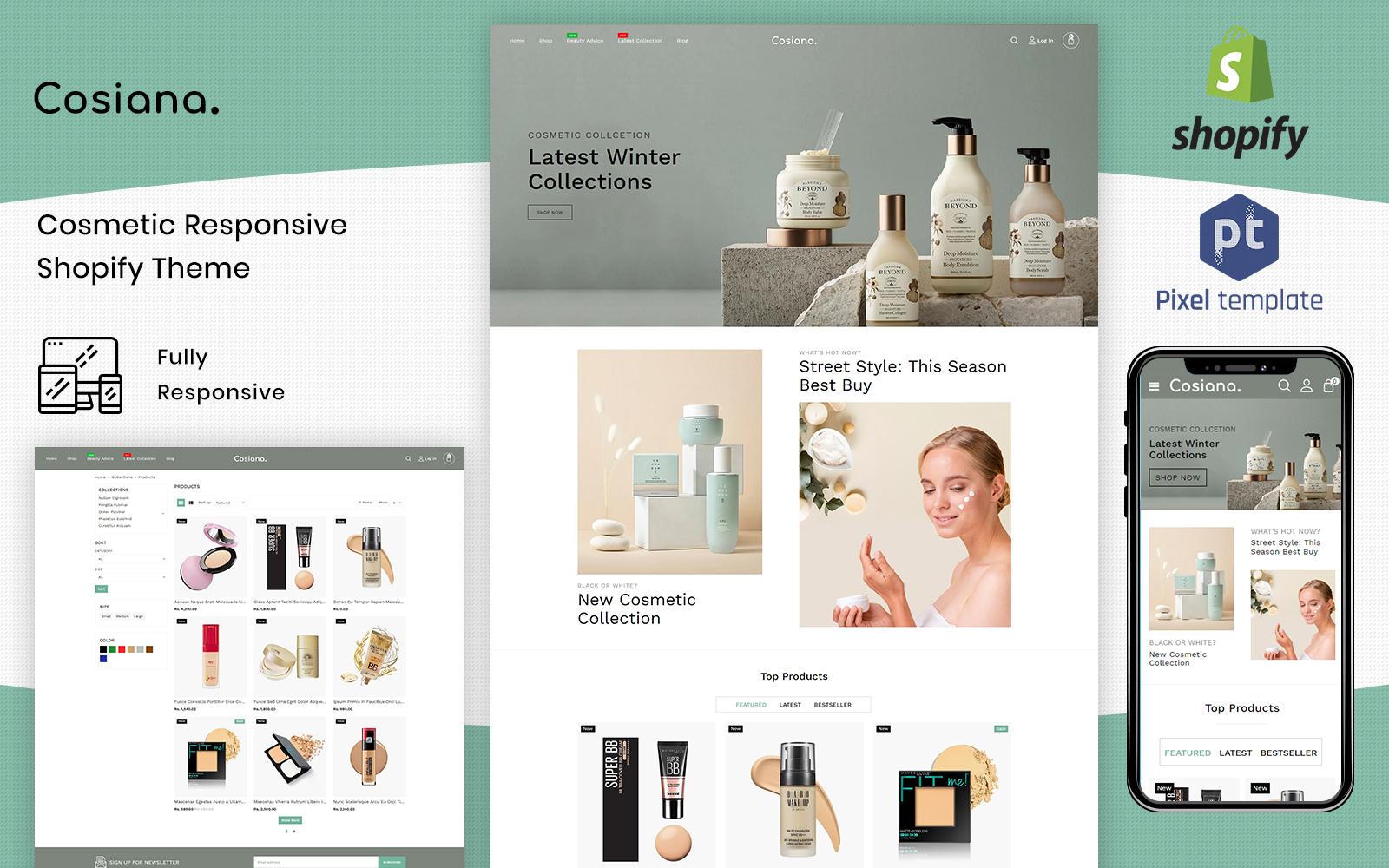 """Cosiana - Cosmetics Ecommerce"" Responsive Shopify Thema №125230"