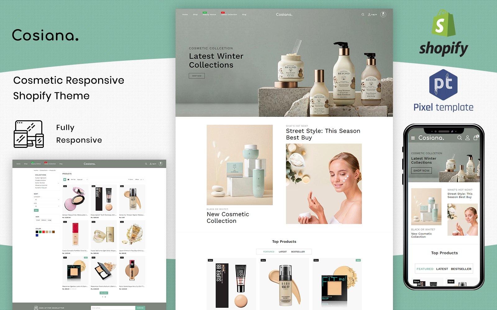 """Cosiana - Cosmetics Ecommerce"" 响应式Shopify模板 #125230"