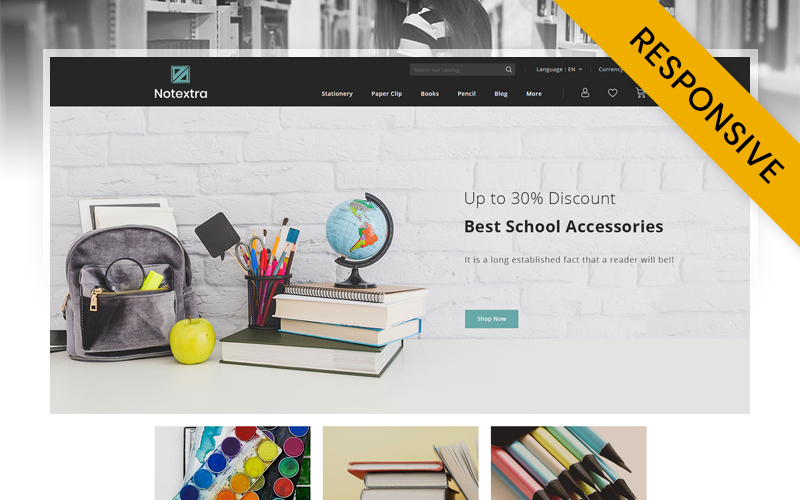"""Notextra - Stationery Store"" - адаптивний PrestaShop шаблон №125229"