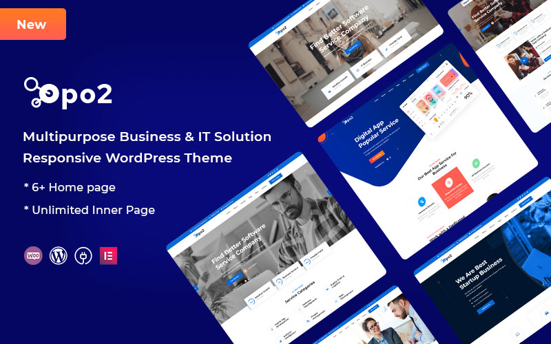 """Opo2 - Multipurpose Business and It Solution"" - bootstrap WordPress шаблон №125227"