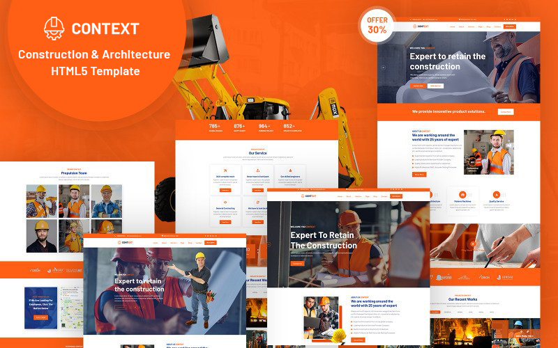 "Tema Siti Web Responsive #125226 ""Context - Construction and  Architecture HTML5"""