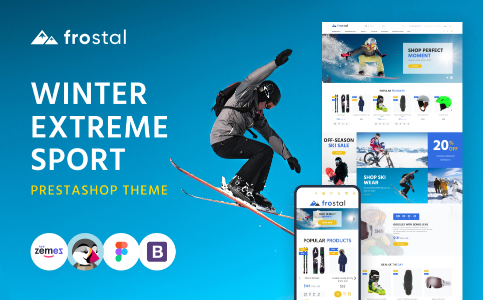 "Modello PrestaShop Responsive #125366 ""Frostal - Winter Extreme Sports eCommerce"""