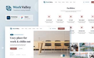 Work Valley - Coworking Space Website UI Design Figma PSD