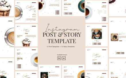 Coffee Shop Instagram Post and Story Template Social Media