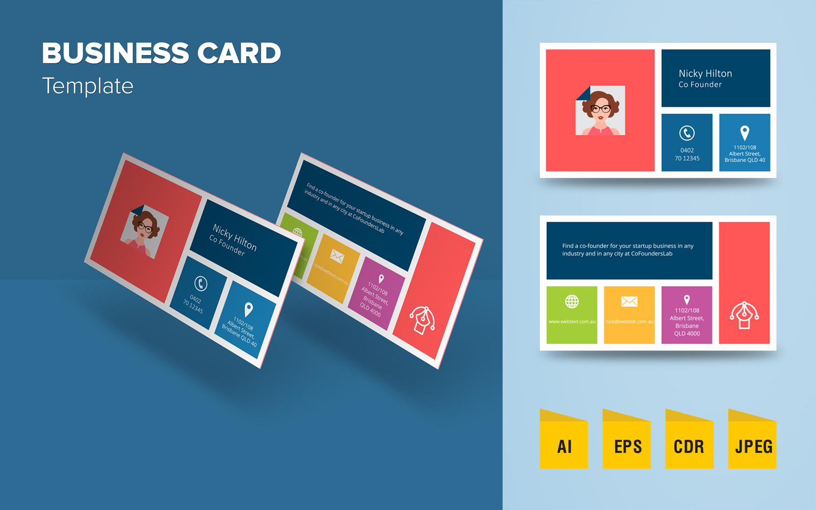 """Creative Business Card Design"" 企业设计模板 #125631"