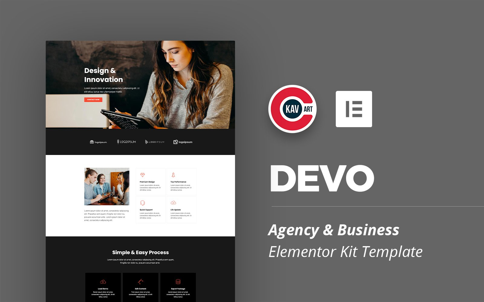 """Devo - Agency Template"" Responsive Elementor Template №125688"