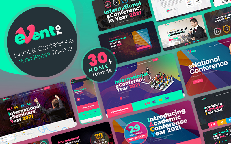 """Eventro - Event, Conference and Meetup"" - адаптивний WordPress шаблон №125687"