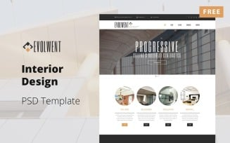 Evolwent - Interior Design Website Mockup Free PSD Template