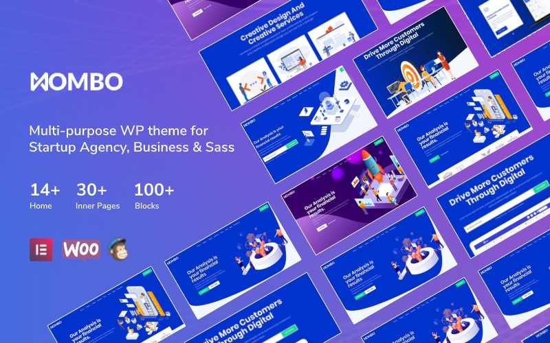 Mombo - Multipurpose Startup Agency and SaaS Tema WordPress №125689