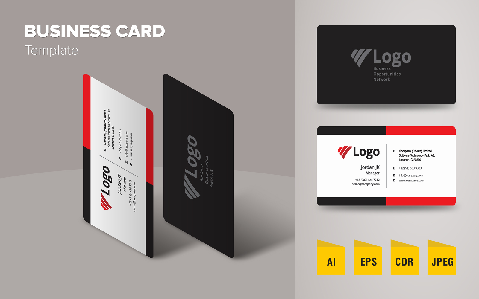 Professional Business Card Design Template de Identidade Corporativa №125634