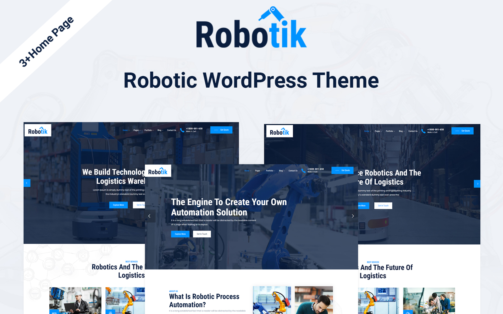 """Robotik - Robotic Automation"" - bootstrap WordPress шаблон №125685"