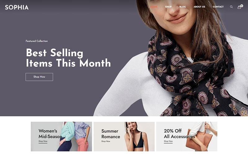 "Tema WooCommerce ""Sophia -  Fashion WordPress"" #125684"