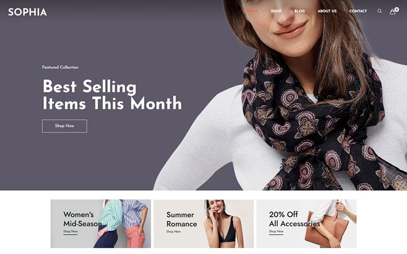 "Tema WooCommerce ""Sophia -  Fashion WordPress"" #125684"