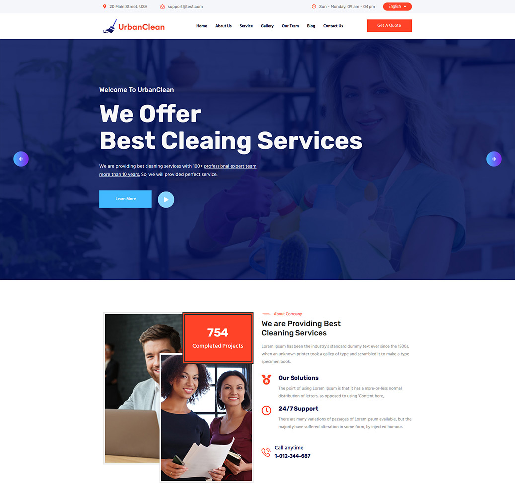 "Template di Landing Page Bootstrap #125686 ""Urbanclean"""