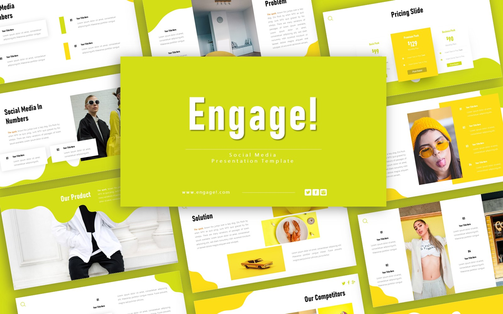 Engage Social Media Presentation PowerPoint sablon 125948