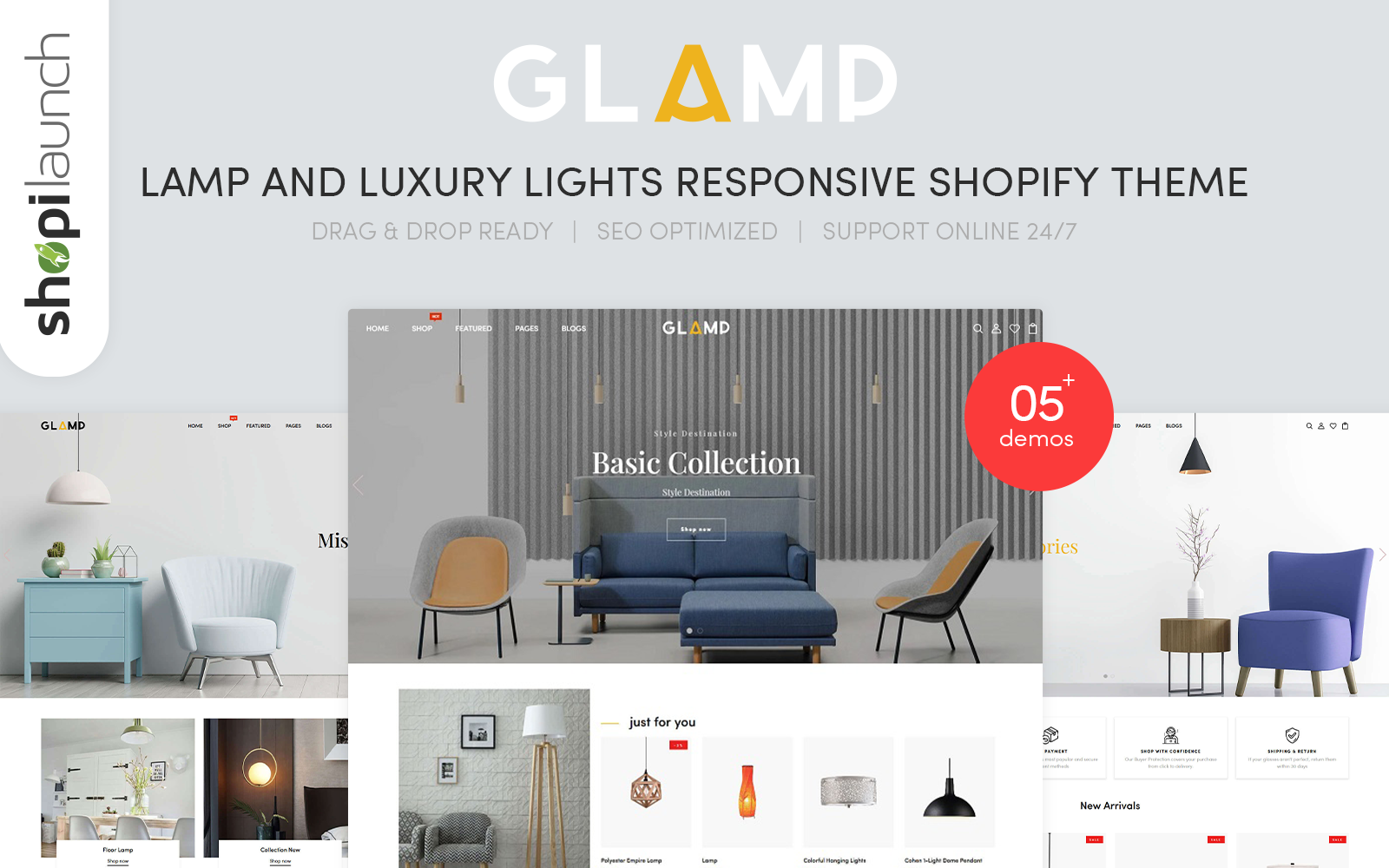 """Glamp - Lamp & Luxury Lights Responsive"" 响应式Shopify模板 #125953"
