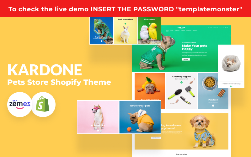 """""""KarDone - Pets Store"""" thème Shopify adaptatif #125961"""