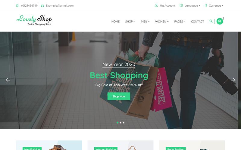 """LovelyShop - eCommerce Bootstrap HTML"" 响应式网页模板 #125955"