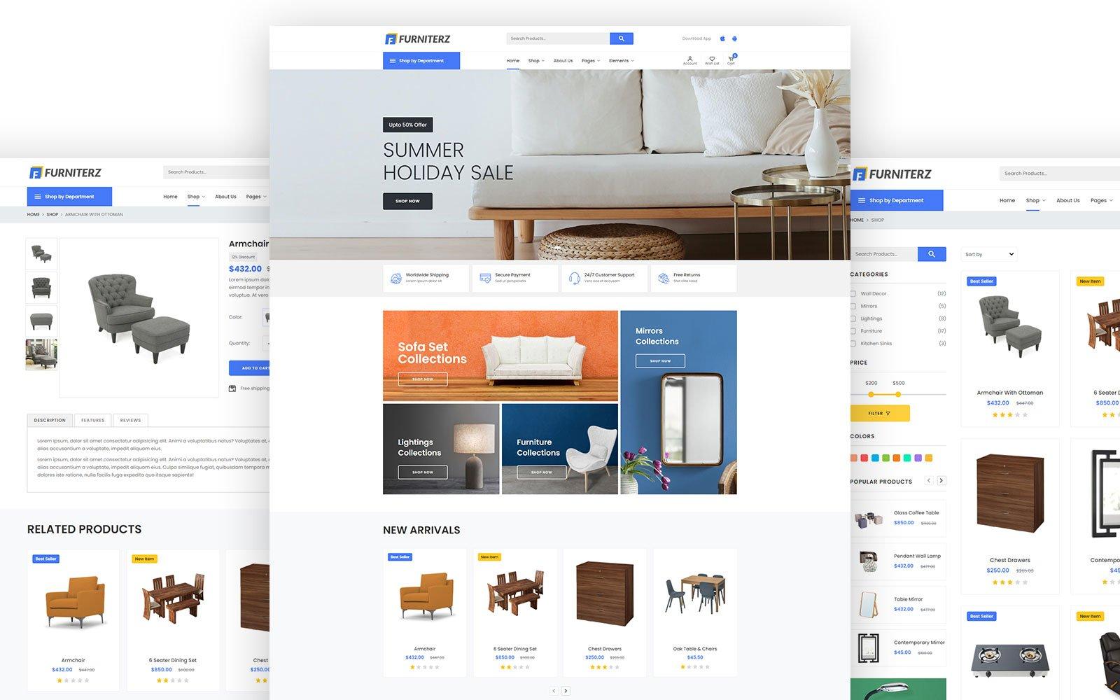 """Responzivní Šablona webových stránek """"Furniterz - HTML5 e-commerce"""" #125957"""
