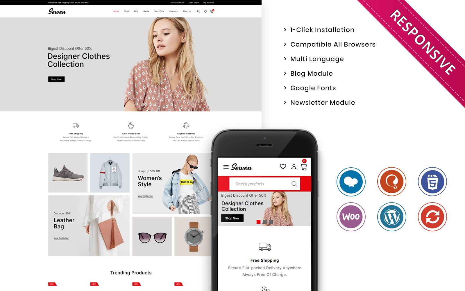 """Template WooCommerce Responsive #125956 """"Sewen - The Mega Fashion Store"""""""