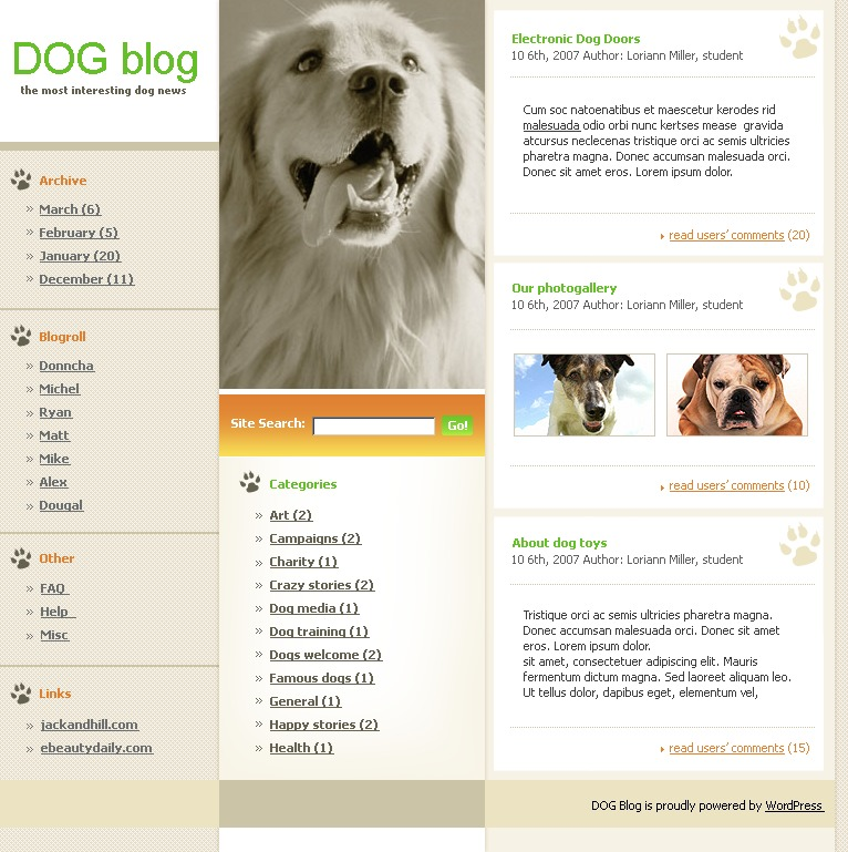 WordPress шаблон №12645 на тему собаки - скриншот