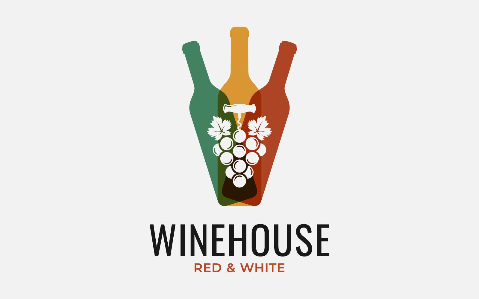 WIne Bottles. Wine Grapes. Logo Template