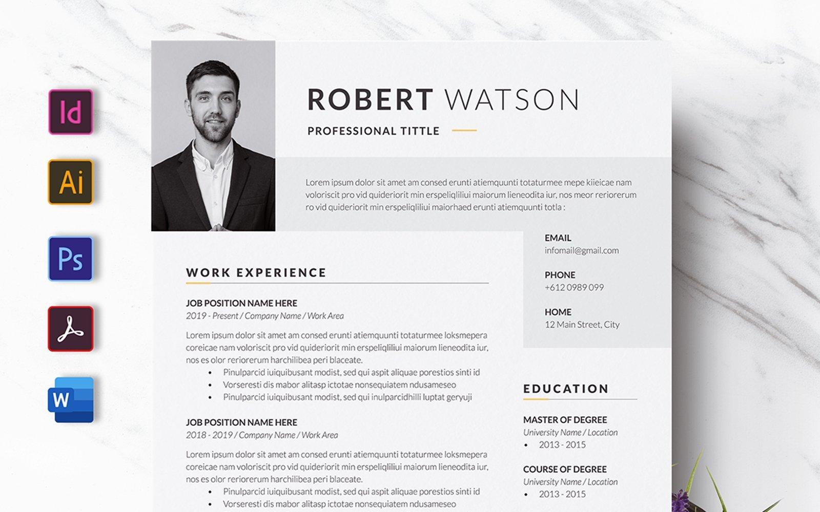 Monochrome CV Resume Template