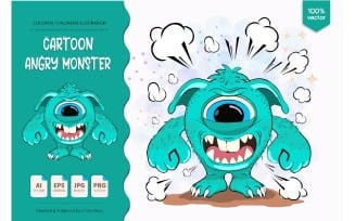 Cartoon Angry Monster