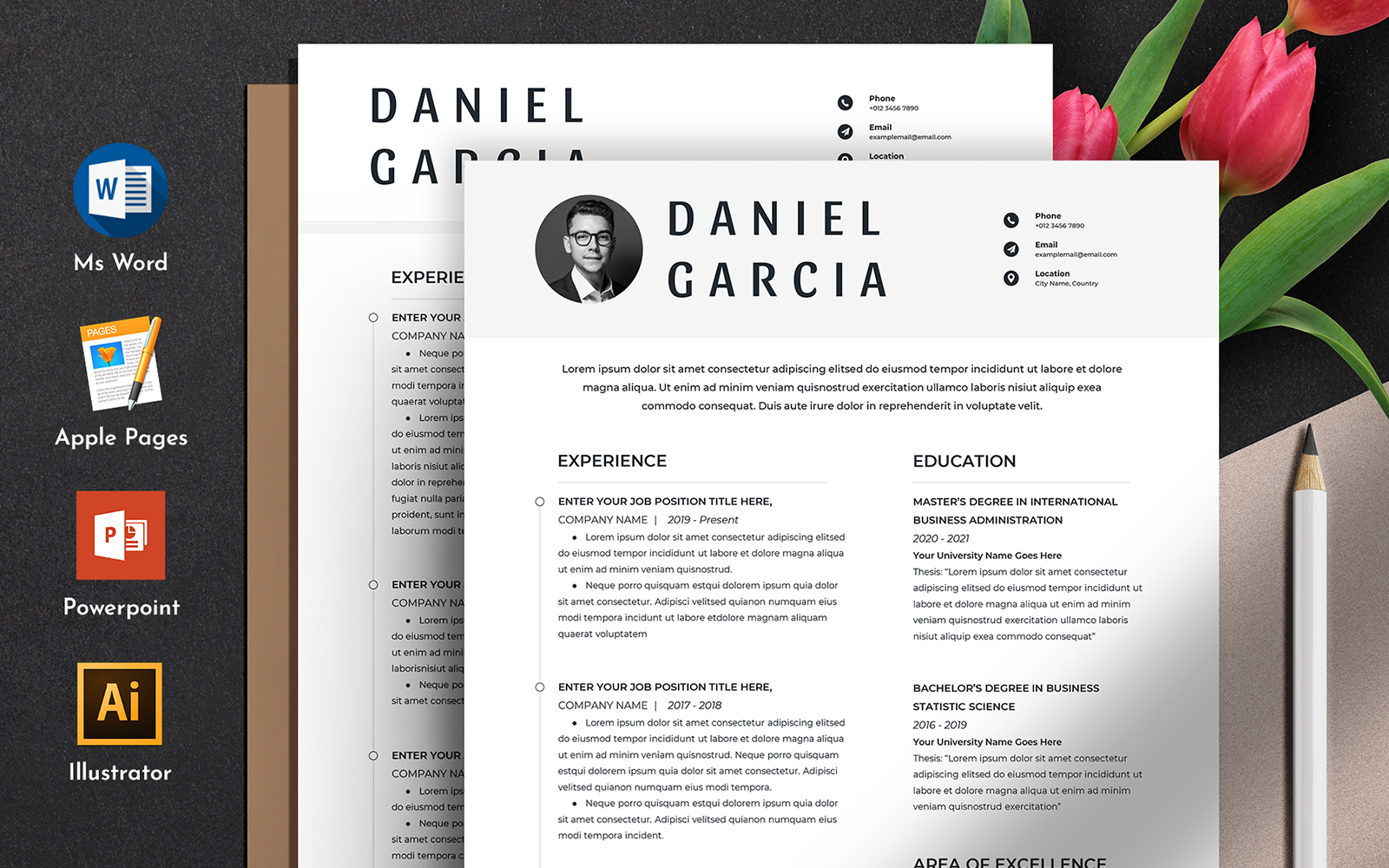 Clean & Professional Editable Word Apple Pages CV №126211