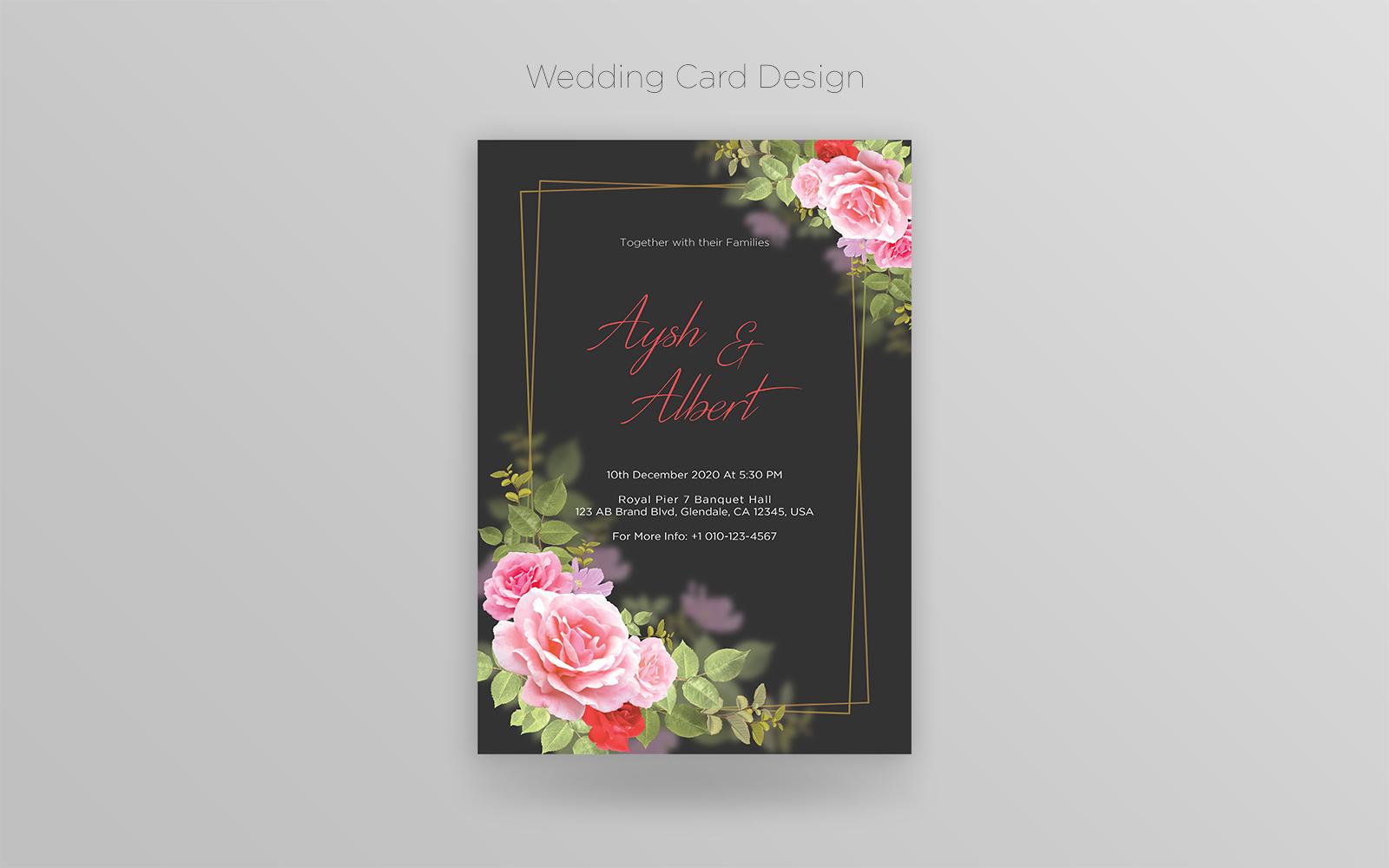 Creative Floral Wedding Card PSD sablon 126233