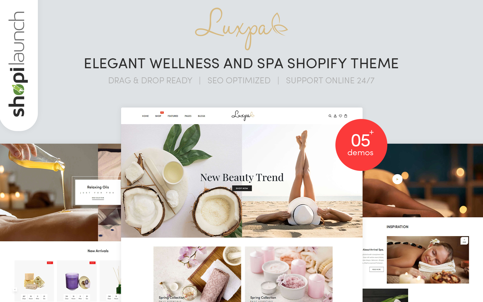 """Luxpa - Elegant Wellness & Spa"" 响应式Shopify模板 #126243"