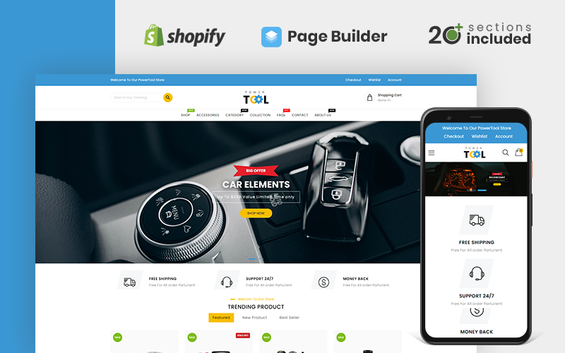 """Power Tools and Accessories Store"" - адаптивний Shopify шаблон №126238"