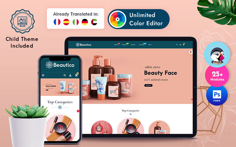 "PrestaShop Theme namens ""Beautico"" #126236"