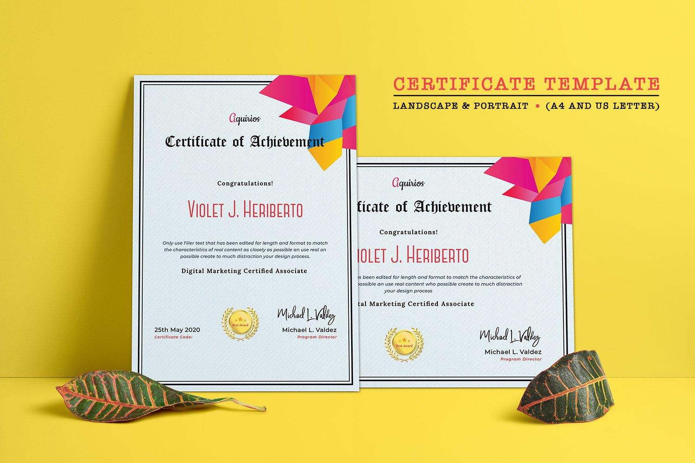 Professional Minimal Certificate Template #126225