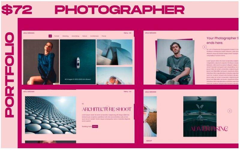 """WINK - Photographer Portfolio Multipurpose"" Responsive Website template №126241"