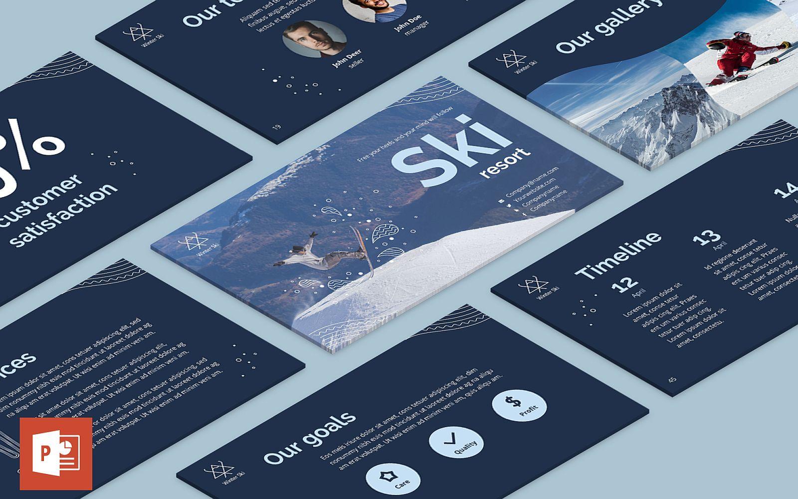 """Luxusní PowerPoint šablona """"Ski Resort Presentation"""" #126359"""